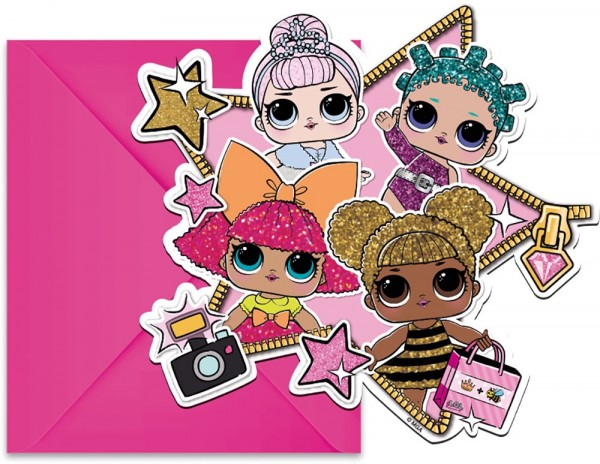 6 cartes d'invitation LOL Glam Girls