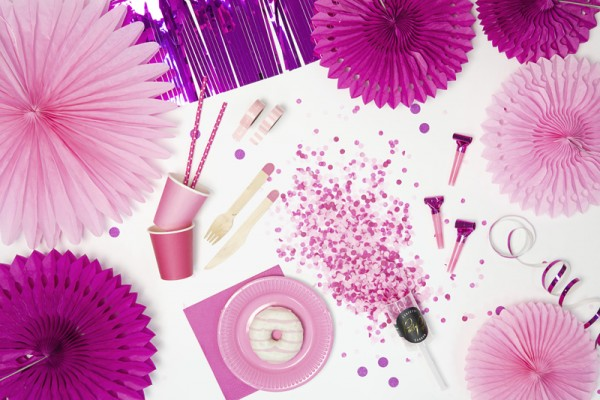 3 Papierrosetten Partystar pink