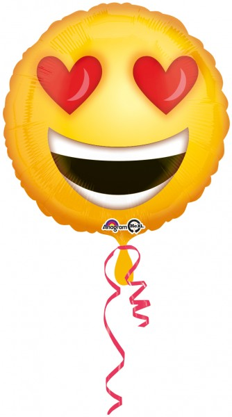 Smiley with heart eyes foil balloon 43cm