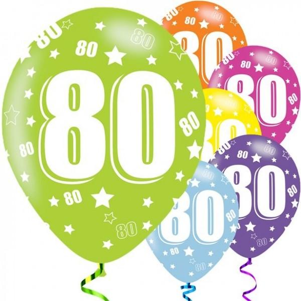 6 Holo 80th Birthday Luftballons 28cm