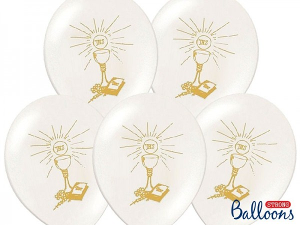 6 white latex communion balloons IHS 27cm