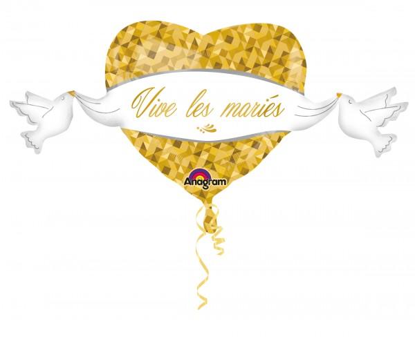Ballon coeur Vive les mariés en or