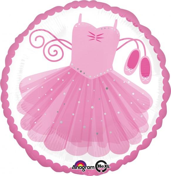 Folienballon Ballerina Tutu pink sparkle rund
