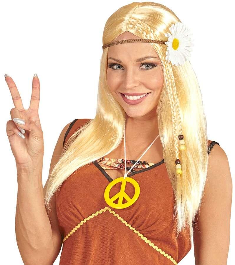 Bandeau Déguisement Hippy 60 s 70 s Groovy Long Blonde Flower Power Hippie Perruque