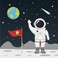 20 Weltraum Servietten Mondfahrt 33cm