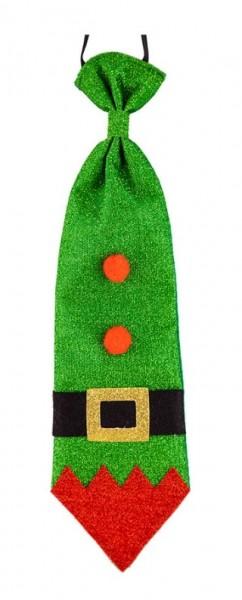 Glittering Christmas elf tie for men