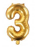 Zahl 3 Folienballon gold 35cm