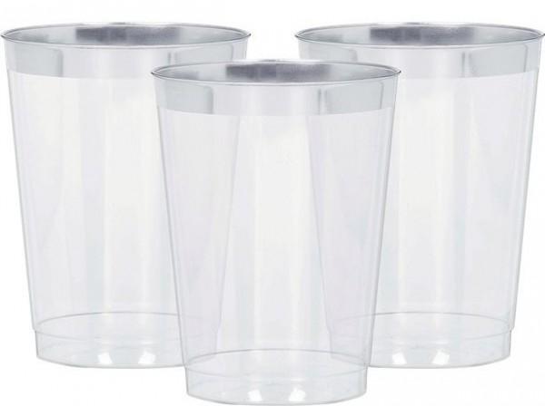 20 bocaux en plastique avec bord argent 295ml