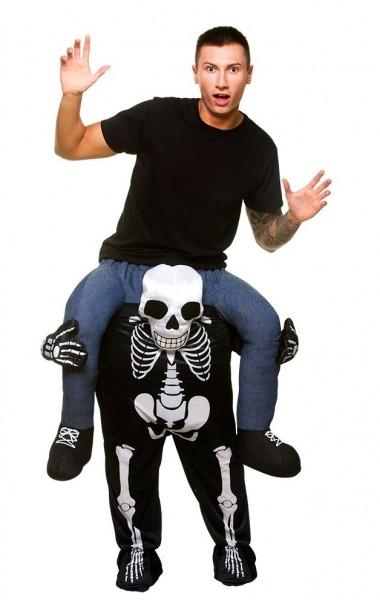 Funny skeleton piggyback men's costume