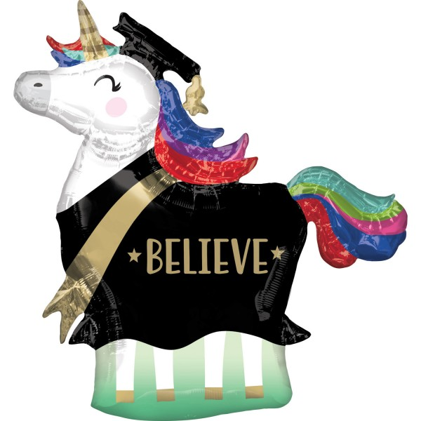 Graduation unicorn foil balloon 83 x 81cm