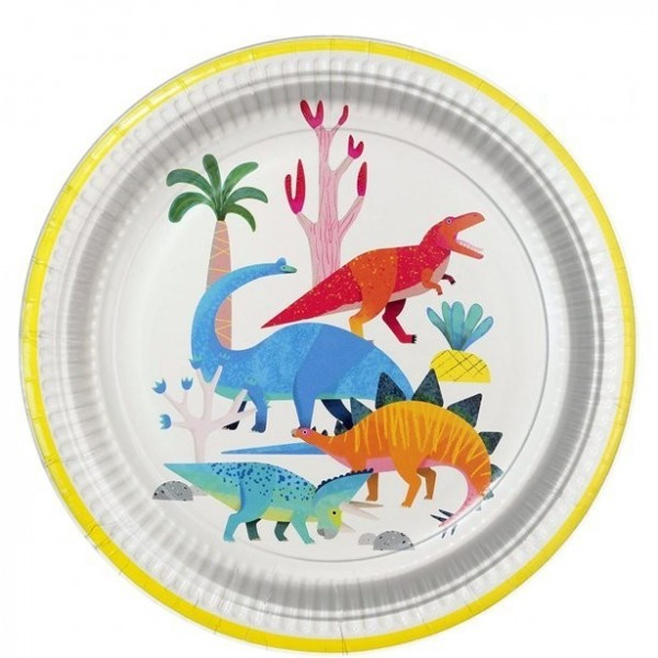 8 Dinoworld Party Teller 23cm