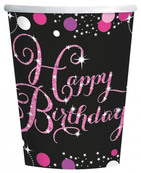 8 tazas Pink Happy Birthday 266ml