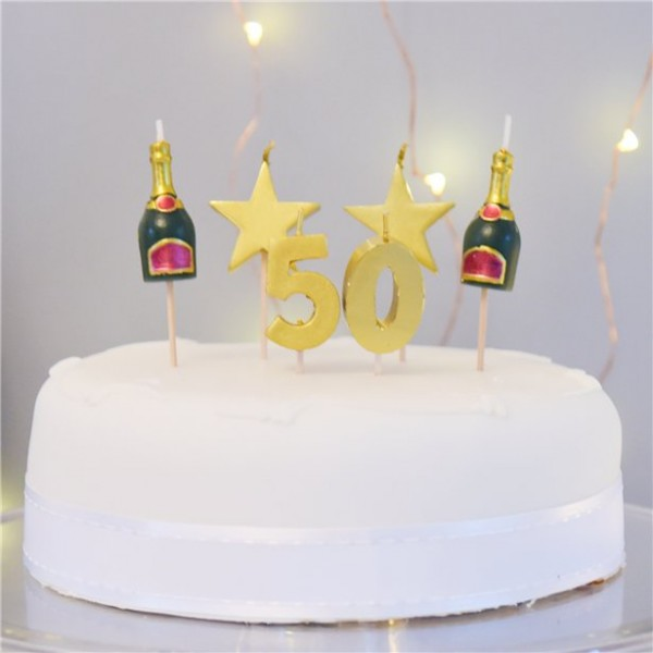 6 Cheers to 50th years Tortenkerzen