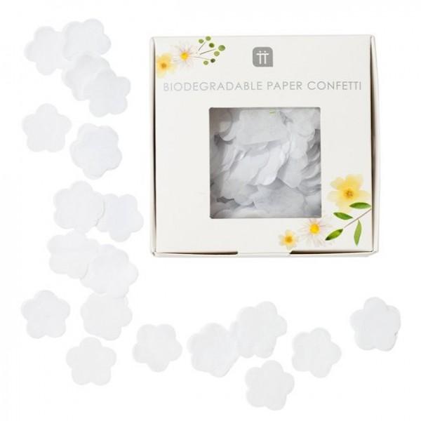Konfetti bibułkowe białe kwiaty