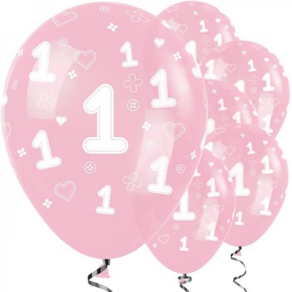 25 First Birthday Girl Luftballons rosa 30cm