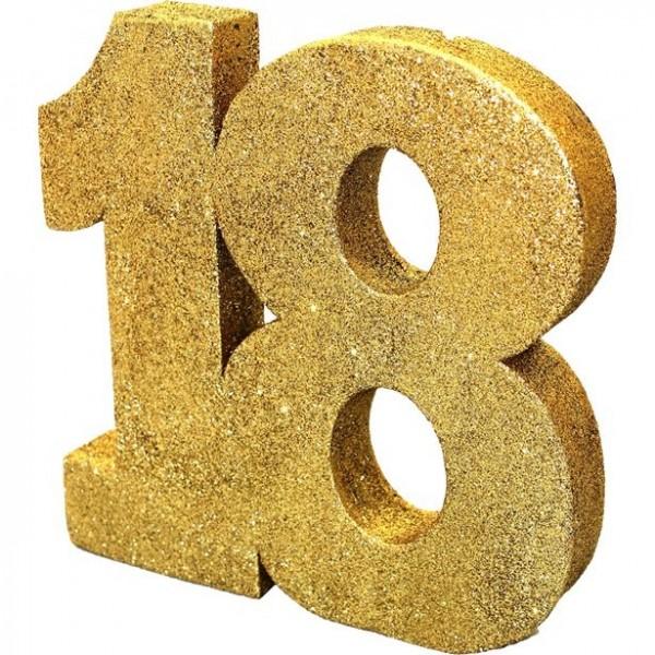 Goldene Zahl 18 Tischdeko 20cm