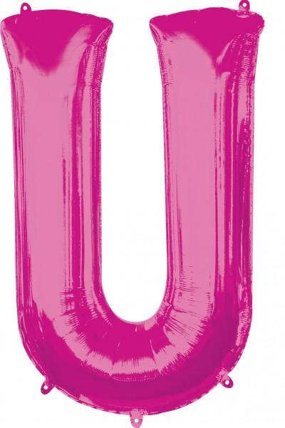 Palloncino Foil lettera U rosa XL 86cm