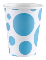 8 Süße Punkte Pappbecher karibikblau 266ml