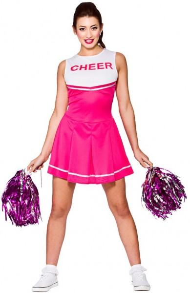 Pink-Weißes Cheerleaderinnen Kleid Mit Pompoms