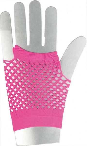 Kurze Netzhandschuhe Neon Pink