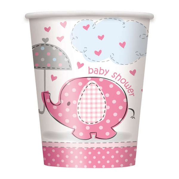 8 elephant baby party paper cups pink 266ml