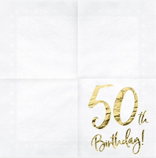 20 Glossy 50th Birthday Napkins 33cm
