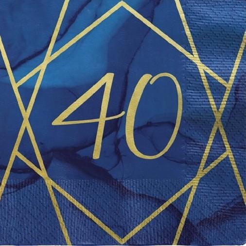16 Luxurious 40th Birthday napkins 33cm