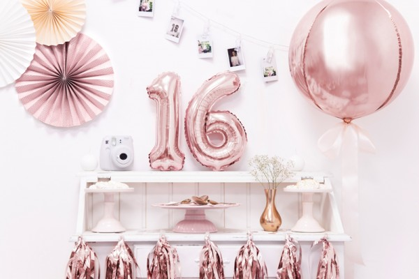 Number 6 Foil Balloon Rose Gold 35cm