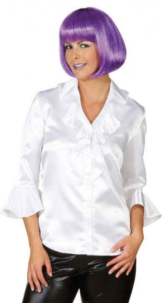 Blusa blanca de satén de mujer con volantes