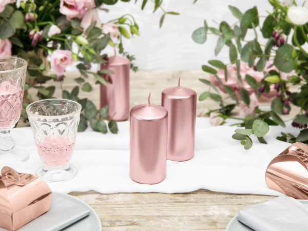 6 pillar candles Rio rose gold 12cm