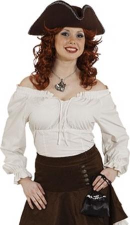 Blusa de mujer bucanero en blanco crema