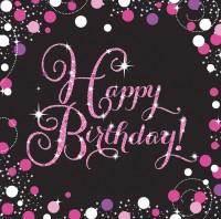 16 Pink Happy Birthday Servietten 33cm