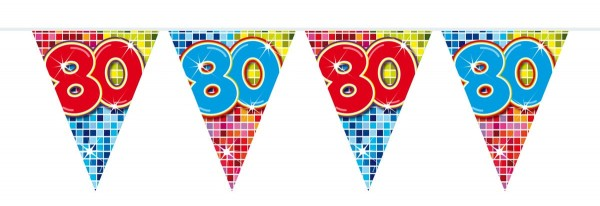 Groovy 80th Birthday Wimpelkette 3m