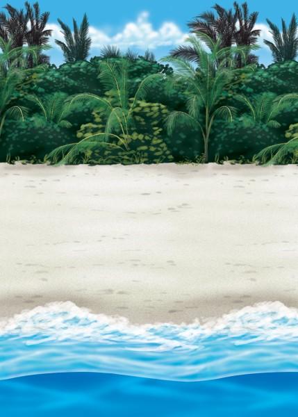 Fondo de pared de playa caribeña 1,2 x 12,2m