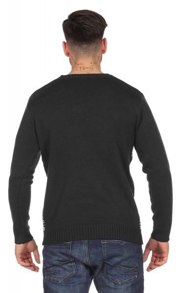 Czarny świąteczny sweter męski z głową renifera