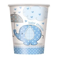 8 Elefanten Baby Party Pappbecher Azurblau 266ml