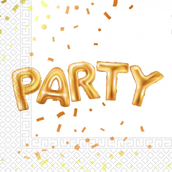 20 golden party napkins 33cm
