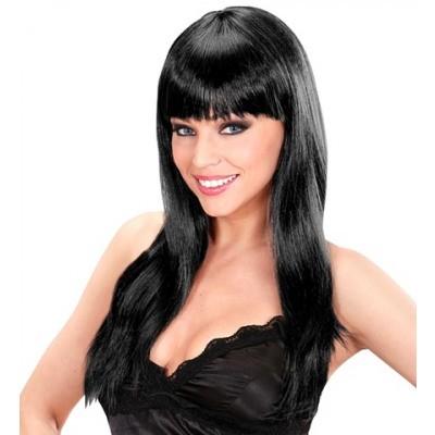 Topmodel dames pruik lang haar zwart met pony
