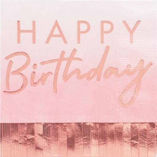 16 Rosy Birthday Fransenservietten 33cm