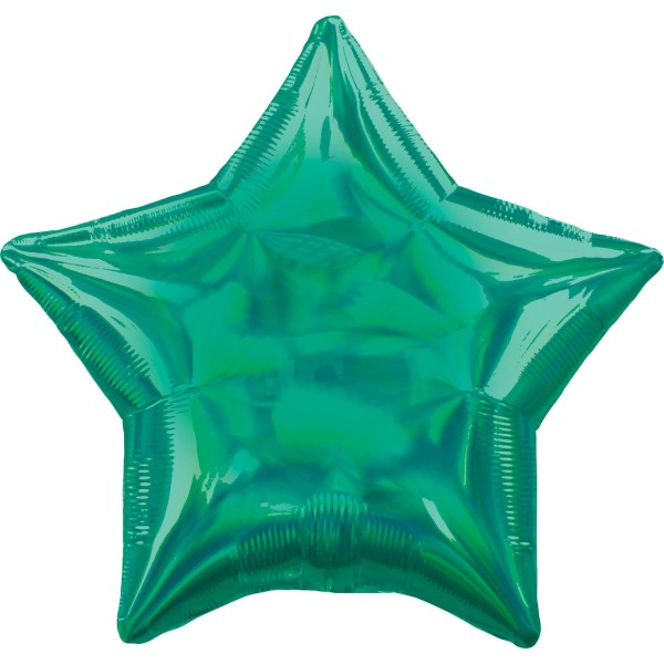 Holographic star balloon emerald green 45cm