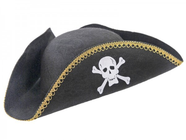 Piratenhut Korsar Dreispitz mit Totenkopf 18x20cm
