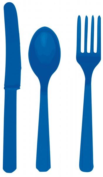 24-teiliges Kunststoff Besteck-Set blau 1