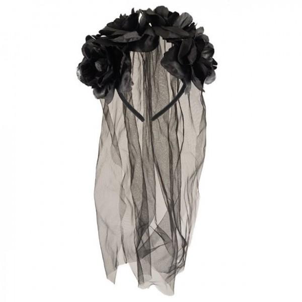 Bandeau de mariée noir avec voile