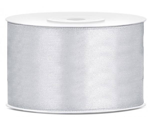 25m satin gift ribbon silver 38mm wide