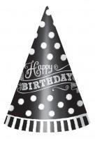 Black & White Partyhut Happy Birthday 12 Stück