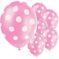 6 Pink Dots Latexballons 30cm