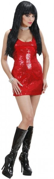Knappes Glitzer Disco Pailletten Kleid Rot