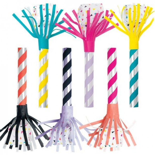 6 colorful striped fringe party pipes