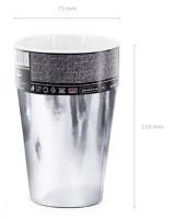 6 Silber metallic Pappbecher 220ml