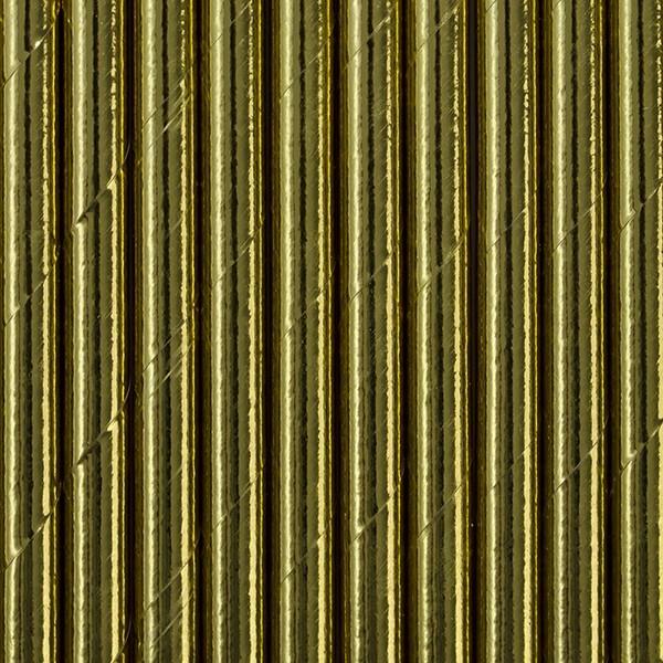 10 papierowych słomek w kolorze metalicznego złota 19,5 cm